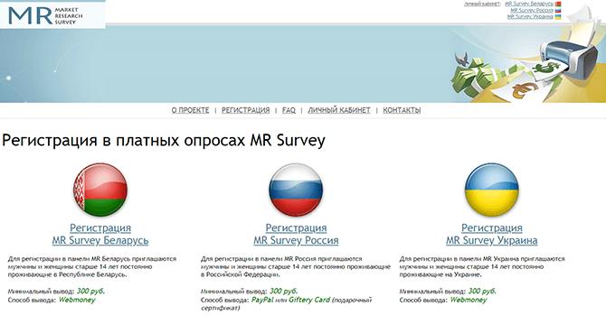 Опросный сайт Mr Survey